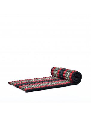 Leewadee Rollbare Thaimatte, 200x76x5 cm, Gästematratze Schlafmatte Yogamatte Massagematte Ökologisches Naturprodukt Thai Matte,  Kapok, rot schwarz