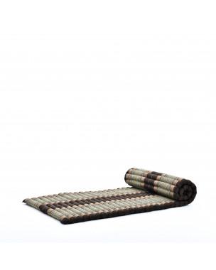 Leewadee Rollbare Thaimatte, 200x76x5 cm, Gästematratze Schlafmatte Yogamatte Massagematte Ökologisches Naturprodukt Thai Matte,  Kapok, braun