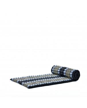 Leewadee Rollbare Thaimatte, 200x76x5 cm, Gästematratze Schlafmatte Yogamatte Massagematte Ökologisches Naturprodukt Thai Matte,  Kapok, blau