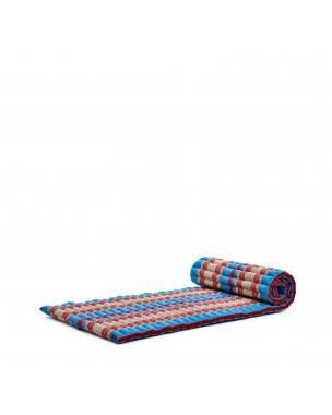 Leewadee Rollbare Thaimatte, 200x76x5 cm, Gästematratze Schlafmatte Yogamatte Massagematte Ökologisches Naturprodukt Thai Matte,  Kapok, blau rot