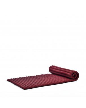Leewadee Rollbare Thaimatte, 200x76x5 cm, Gästematratze Schlafmatte Yogamatte Massagematte Ökologisches Naturprodukt Thai Matte,  Kapok, rot