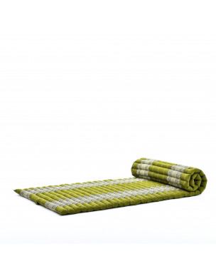 Leewadee Roll-Up Thai Mattress, 79x30x2 inches, Guest Bed Yoga Floor Mat Thai Massage Pad Eco-Friendly Organic and Natural,  Kapok, green