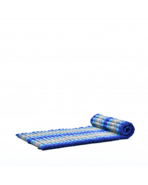 Leewadee Roll-Up Thai Mattress, 79x30x2 inches, Guest Bed Yoga Floor Mat Thai Massage Pad Eco-Friendly Organic and Natural,  Kapok, blue
