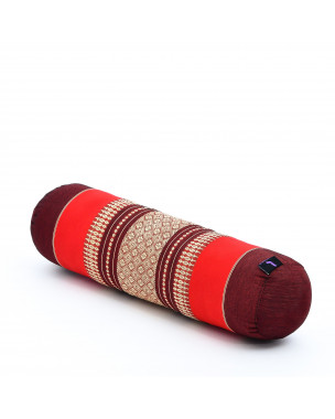 Leewadee Small Yoga Bolster Pilates Supportive Roll Cushion Neck Pillow Eco-Friendly Organic and Natural, 22x6x6 inches, Kapok, red