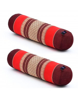 Leewadee Small Yoga Bolster Set of 2 Pilates Supportive Roll Cushion Neck Pillow Eco-Friendly Organic and Natural, 22x6x6 inches, Kapok, red