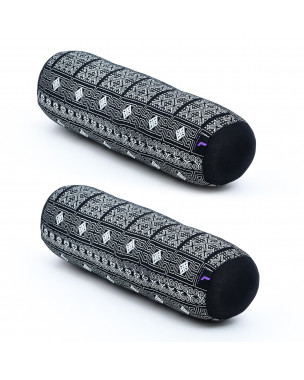 Leewadee Small Yoga Bolster Set of 2 Pilates Supportive Roll Cushion Neck Pillow Eco-Friendly Organic and Natural, 22x6x6 inches, Kapok, black
