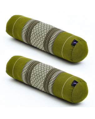 Leewadee Small Yoga Bolster Set of 2 Pilates Supportive Roll Cushion Neck Pillow Eco-Friendly Organic and Natural, 22x6x6 inches, Kapok, green