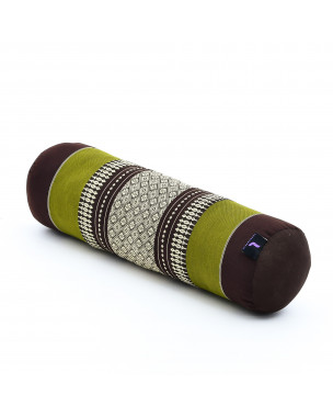 Leewadee Small Yoga Bolster Pilates Supportive Roll Cushion Neck Pillow Eco-Friendly Organic and Natural, 22x6x6 inches, Kapok, brown green