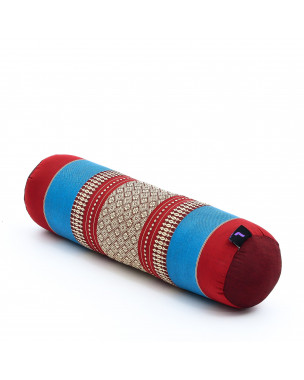 Leewadee Small Yoga Bolster Pilates Supportive Roll Cushion Neck Pillow Eco-Friendly Organic and Natural, 22x6x6 inches, Kapok, blue red