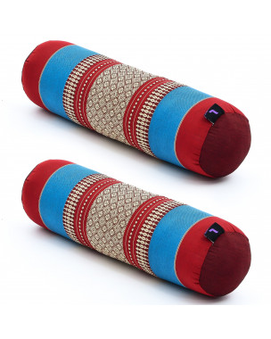 Leewadee Small Yoga Bolster Set of 2 Pilates Supportive Roll Cushion Neck Pillow Eco-Friendly Organic and Natural, 22x6x6 inches, Kapok, blue red