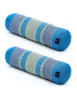 Leewadee Small Yoga Bolster Set of 2 Pilates Supportive Roll Cushion Neck Pillow Eco-Friendly Organic and Natural, 22x6x6 inches, Kapok, light blue