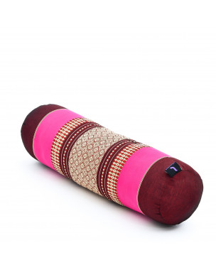 Leewadee Yoga Bolster – Shape-Retaining Cervical Neck Roll, Tube Pillow for Comfortable Reading, Made of Eco-Friendly Kapok, 22 x 6 x 6 inches, auburn pink