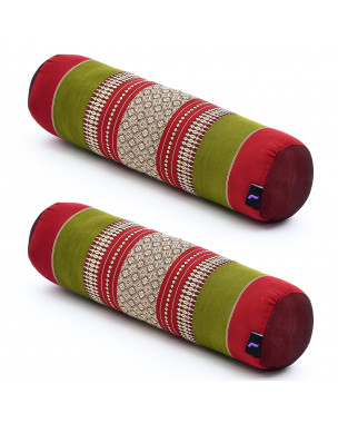 Leewadee Small Yoga Bolster Set of 2 Pilates Supportive Roll Cushion Neck Pillow Eco-Friendly Organic and Natural, 22x6x6 inches, Kapok, green red