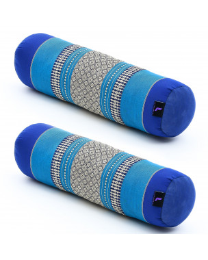 Leewadee Small Yoga Bolster Set of 2 Pilates Supportive Roll Cushion Neck Pillow Eco-Friendly Organic and Natural, 22x6x6 inches, Kapok, blue