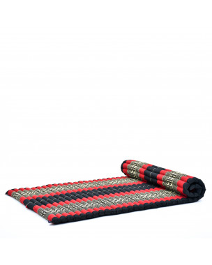 Leewadee Rollbare Thai Matte, 200x105x5 cm, Breite Gästematratze Yogamatte Massagematte Ökologisches Naturprodukt,  Kapok, rot schwarz