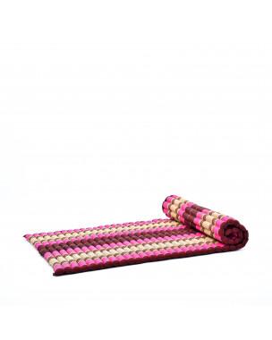 Leewadee Rollbare Thai Matte, 200x105x5 cm, Breite Gästematratze Yogamatte Massagematte Ökologisches Naturprodukt,  Kapok, pink rotbraun