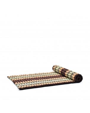 Leewadee Rollbare Thai Matte, 200x105x5 cm, Breite Gästematratze Yogamatte Massagematte Ökologisches Naturprodukt,  Kapok, braun