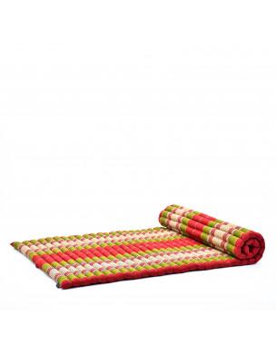 Leewadee Rollbare Thai Matte, 200x105x5 cm, Breite Gästematratze Yogamatte Massagematte Ökologisches Naturprodukt,  Kapok, grün rot