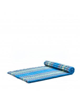 Leewadee Rollbare Thai Matte, 200x105x5 cm, Breite Gästematratze Yogamatte Massagematte Ökologisches Naturprodukt,  Kapok, hellblau