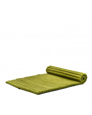 Leewadee Roll-Up Thai Mattress Twinsize Guest Bed Yoga Floor Mat Thai Massage Pad Eco-Friendly Organic and Natural, 79x41x2 inches, Kapok, green