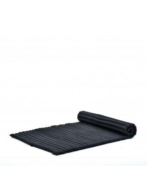 Leewadee Rollbare Thai Matte, 200x105x5 cm, Breite Gästematratze Yogamatte Massagematte Ökologisches Naturprodukt,  Kapok, schwarz