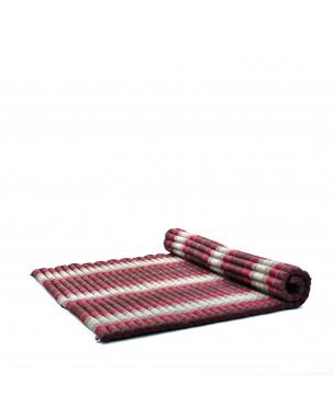 Leewadee Rollbare XL Thai Matte, 200x145x5 cm, Extrabreite Gästematratze Yogamatte Massagematte Ökologisches Naturprodukt,  Kapok, braun rot