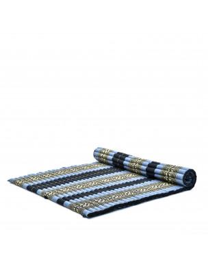 Leewadee Rollbare XL Thai Matte, 200x145x5 cm, Extrabreite Gästematratze Yogamatte Massagematte Ökologisches Naturprodukt,  Kapok, blau