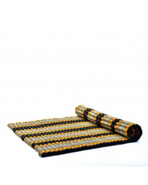 Leewadee Rollbare XL Thai Matte, 200x145x5 cm, Extrabreite Gästematratze Yogamatte Massagematte Ökologisches Naturprodukt,  Kapok, orange schwarz