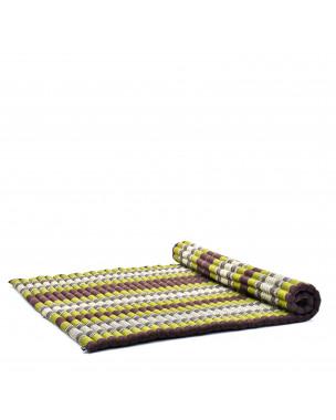 Leewadee Rollbare XL Thai Matte, 200x145x5 cm, Extrabreite Gästematratze Yogamatte Massagematte Ökologisches Naturprodukt,  Kapok, braun grün