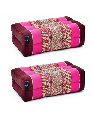 Leewadee Yoga Block Set – 2 Floor Cushions for Yoga, Meditation Block for the Floor, Filled with Eco-Friendly Kapok, 14 x 7 x 5 inches, Pack of 2, auburn pink