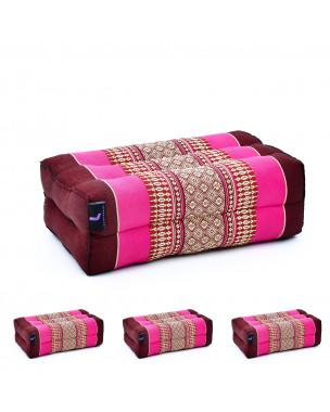 Leewadee Yoga Block Set of 4 Pilates Brick Meditation Cushion Eco-Friendly Organic and Natural, 14x7x5 inches, Kapok, auburn pink