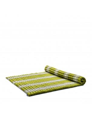 Leewadee Rollbare XL Thai Matte, 200x145x5 cm, Extrabreite Gästematratze Yogamatte Massagematte Ökologisches Naturprodukt,  Kapok, grün