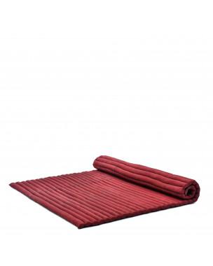Leewadee Rollbare XL Thai Matte, 200x145x5 cm, Extrabreite Gästematratze Yogamatte Massagematte Ökologisches Naturprodukt,  Kapok, rot