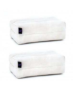 Leewadee Yoga Block Set – 2 Floor Cushions for Yoga, Meditation Block for the Floor, Filled with Eco-Friendly Kapok, 14 x 7 x 5 inches, Pack of 2, ecru