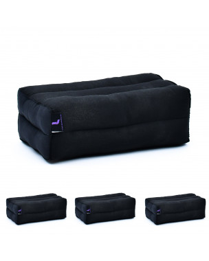 Leewadee Yoga Block Set of 4 Pilates Brick Meditation Cushion Eco-Friendly Organic and Natural, 14x7x5 inches, Kapok, black
