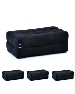 Leewadee Yoga Block Set of 4 Pilates Brick Meditation Cushion Eco-Friendly Organic and Natural, 14x7x5 inches, Kapok, black