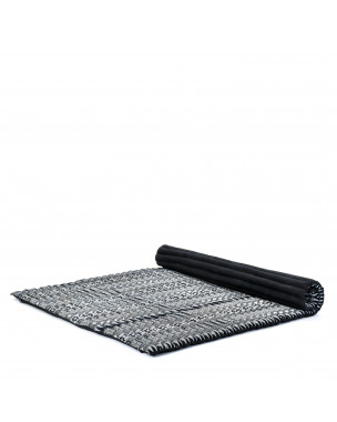 Leewadee Roll-Up Thai Mattress, 79x57x2 inches, Guest Bed Yoga Floor Mat Thai Massage Pad XL Twinsize Eco-Friendly Organic and Natural,  Kapok, black