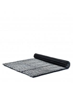 Leewadee Rollbare XL Thai Matte, 200x145x5 cm, Extrabreite Gästematratze Yogamatte Massagematte Ökologisches Naturprodukt,  Kapok, schwarz