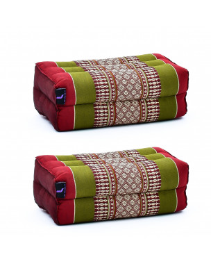 Leewadee Yoga Block Set – 2 Floor Cushions for Yoga, Meditation Block for the Floor, Filled with Eco-Friendly Kapok, 14 x 7 x 5 inches, Pack of 2, green red