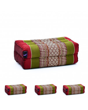 Leewadee Yoga Block Set of 4 Pilates Brick Meditation Cushion Eco-Friendly Organic and Natural, 14x7x5 inches, Kapok, green red