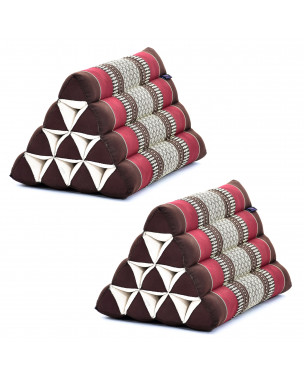 Leewadee Set of 2 Triangle Cushion Reading Pillow Backrest TV Pillow Eco-Friendly Organic and Natural, 20x13x13 inches, Kapok, brown red