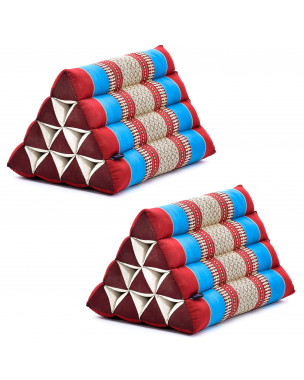 Leewadee Set of 2 Triangle Cushion Reading Pillow Backrest TV Pillow Eco-Friendly Organic and Natural, 20x13x13 inches, Kapok, blue red