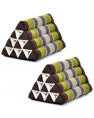 Leewadee Set of 2 Triangle Cushion Reading Pillow Backrest TV Pillow Eco-Friendly Organic and Natural, 20x13x13 inches, Kapok, brown green