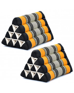 Leewadee Set of 2 Triangle Cushion Reading Pillow Backrest TV Pillow Eco-Friendly Organic and Natural, 20x13x13 inches, Kapok, black orange