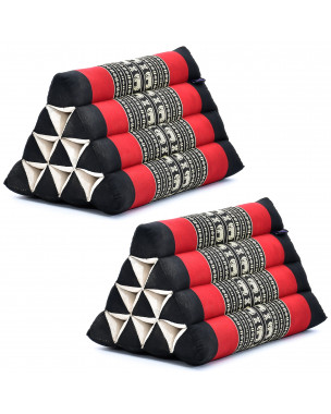 Leewadee Set of 2 Triangle Cushion Reading Pillow Backrest TV Pillow Eco-Friendly Organic and Natural, 20x13x13 inches, Kapok, black red