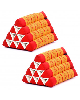 Leewadee Set of 2 Triangle Cushion Reading Pillow Backrest TV Pillow Eco-Friendly Organic and Natural, 20x13x13 inches, Kapok, orange red