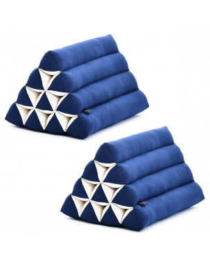 Leewadee Set of 2 Triangle Cushion Reading Pillow Backrest TV Pillow Eco-Friendly Organic and Natural, 20x13x13 inches, Kapok, blue