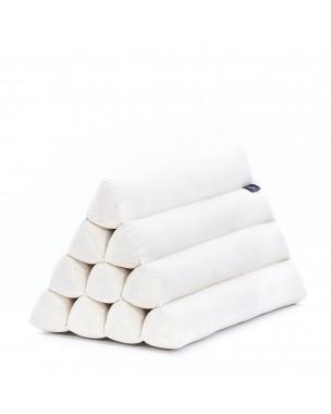 Leewadee almohada triangular tailandesa – Cojín de kapok sin tratar, respaldo cómodo para leer, almohadilla hecha a mano, 50 x 33 x 33 cm, color natural