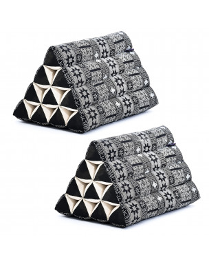 Leewadee Set of 2 Triangle Cushion Reading Pillow Backrest TV Pillow Eco-Friendly Organic and Natural, 20x13x13 inches, Kapok, black