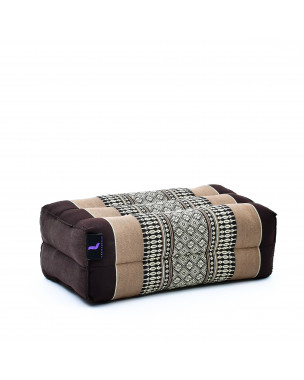 Leewadee Yoga Block – Floor Cushion for Yoga Practice, Meditation Seat Cushion for Workouts Filled with Eco-Friendly Kapok, 14 x 7 x 5 inches, brown